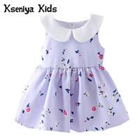 filles coréennes pour vêtements pour enfants achat en gros de-Kseniya Kids 2018 New Summer Girls Dress Princesse Dress Summer Vêtements enfant pour enfants Style Coréen Peter Pan Col