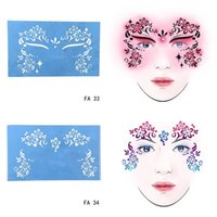 Wholesale Flower Designs For Tattoos - Wholesale-New Soft Reusable Face Paint Stencil Tattoo Template Flower Face Body Paint Design Painting Tool For Halloween Christmas Party