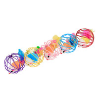 Wholesale multi pet toys for sale - 6cm Mouse In Cage Ball Teasing Cat Toy Multi Color Funny Pet Toy tt C R
