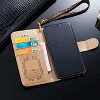 carteira samsung s venda por atacado-Para iphone xs max xr x 6 6 s 7 8 8 plus luxo moda carteira de couro flip case para galaxy s9 s8 mais s7 borda nota9 note8 marca de alta qualidade