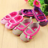 Wholesale cute sweet shoes online - Sweet newborn baby girl flower ruffled shoes toddler soft bottom crib walk shoes New Baby Newborn Infant Cute Girls Shoes