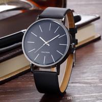 девушка часы простые оптовых-Новое прибытие элегантный классический кожаный часы Марка мужчина женщина Леди девушка мужская мода простой дизайн кварцевые платье наручные часы Reloj hombre