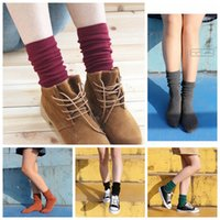 Wholesale Funny Candies - Women Socks Funny Plain Candy Color Long Socks Long Pile Heap Harajuku Warm Striped Socks OOA3845