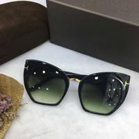 Wholesale mod sunglasses resale online - Women Designer SAMANTHA Shinny Black CROPPED CAT EYE Sunglasses MOD Fashion Brand Sunglasses New with Box