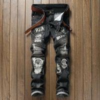 patchs de motards brodés achat en gros de-2018 nouvelle marque de mode Skull Patchs Jeans Hommes Straight Fit brodé Hip Hop Locomotive Biker Jeans homme pantalon