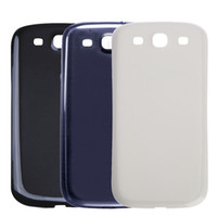 Wholesale galaxy siii cases online - High Quality New Battery Door Case Back Cover Housing Plastic Replacement for Samsung Galaxy S3 SIII i9300 I9305 White Black Blue With Logo