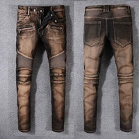 Wholesale Old Jeans - 2018 Fashion Men foreign jeans pants motorcycle biker men washing old fold Trousers Casual Runway Denim