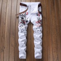 Wholesale jeans pattern design - 2018 man jeans white printing design jeans snow splash-ink fashion summer dress jenas men