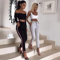 Wholesale elegant high waist trousers - Casual stripe women pants bottom Fashion elastic slim sweatpants Elegant autumn streetwear female pants trousers
