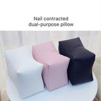 ingrosso cuscini cuscini neri-Cuscino per le mani da tavolo in pelle PU per le unghie Cuscino per le mani da tavolo in bianco e nero / rosa Cuscino per manicure