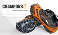 Wholesale climbing crampons resale online - Pair Teeth Claws Crampons Non slip Shoes Cover Stainless Steel Ice Gripper Chain Outdoor Ski Snow Hiking Climbing
