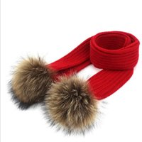 Wholesale scarves fur for sale - Group buy 7 color Winter Children Warm Scarf Lovely Fur Pompom Knitted Crochet Scarf Children Kids Boys Girls Warm Scarves KKA5928