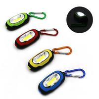 porte-clés led bleu vert rouge achat en gros de-Creative COB LED Porte-clés Lampe de poche 3-Modes Mini Lampe Anneau Porte-clés Torche Porte-clés Vert / Rouge / Jaune / Bleu