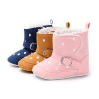 mädchen rosa schnee stiefel großhandel-Babyschuhe Kleinkind Schuhe Mädchen Polka Dot Pink Winter Baby Stiefel Warme Flaum Kinder Kinder Schneeschuhe