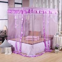vorhänge möbel großhandel-Elegante Spitze Insekt Bett Canopy Netting Vorhang Dome Polyester Bettwäsche Moskitonetz Wohnmöbel 3 Türen offen für Bettwäsche