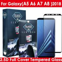 color tempered glass оптовых-2.5D Color Full Cover Закаленное стекло для экрана телефона для Samsung Galaxy A5 A6 A6Plus A7 A8 A8Plus 2018 с розничным пакетом
