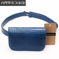 ingrosso cintura di alligatore nero-Annmouler Fashion Candy Color Waist Bag Alligator Pattern Donna Vita Pack Nero regolabile Cintura femminile Pu Borse divertenti