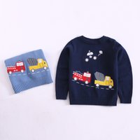 Wholesale american girl car online - INS children sweater fashion boys cartoon embroidery long sleeve pullover children cartoon car knitting tops kids casual jumper A00561