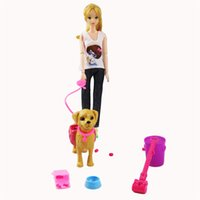 Wholesale pet toys for girls online - 1 Set Barbie Doll Plastic Pet Dogs Feeding Dog Food Bone Bowl Outside Barbie Doll Accessories For Girl Gift Play House Toys