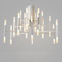 Wholesale gold chain tube online - Nordic postmodern LED art villa chandelier living room lobby restaurant gold chandelier creative personality tube lights