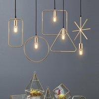 altın sarkıt ışık toptan satış-E27 Endüstriyel Kolye Işık Yaratıcı İskandinav Loft Demir Geometrik Sarkıt Siyah / Altın / Beyaz renk
