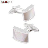 SAVOYSHI Cufflinks for Mens Shirt Luxury Seashells Stone Cuff bottons High Quality White Cuff links Designer Wholesale Brand Jewelry