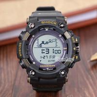 digitales handgelenk großhandel-Männer PRW Sports Elektronische Chronograph Armbanduhr g 100 100 Männer g Uhr Big Dial Digitale wasserdichte LED männliche Schock Armbanduhren