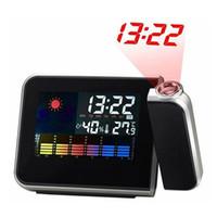 светодиодный многоцветный экран оптовых-Digital Projection Alarm Clock Weather Multi Function Desk Table Alarm Clocks Color Screen Calendar LED Wall Projection Clock