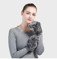 mitte tasarımları toptan satış-Pudi GF706 Hakiki Rex tavşan kürk Eldiven Eldiven Mitten Yeni Kürk Tasarım bu Kış için