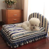 lüks pet mat toptan satış-Orta köpekler için köpek yatakları küçük yatak ev seti chihuahua için pet kedi lüks Prenses çekyat Kennel (Pet yatak + yastık + battaniye)