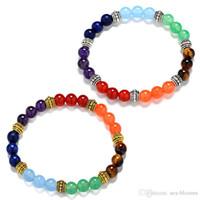 Wholesale tigers eye gemstone resale online - 2018 Chakras Natural Gemstone Bracelet Styles Tiger Eye Stone mm Yoga Reiki Healing Round Beads Bracelet For Unisex Jewelry Gift B523SF