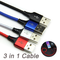 usb multi charge cable venda por atacado-3 em 1 multi-tipo c + micro outros dados usb carregador de carregamento rápido cabo trançado linha de cabo