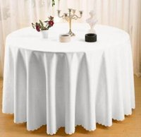 plain table cloths 2018 - Polyester Round Tablecloth Dining Table Cloth Table Cloth for Wedding Hotel Decor Office Wedding Booth Setting