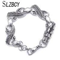 charme rock armbänder großhandel-SLZBCY Trendy Dragon Charms Kette BraceletBangle für Männer Legierung Metall Tier Armbänder homme Rock Punk Schmuck Geschenk