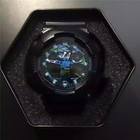 boks saatleri toptan satış-Erkek Spor İzle Tasarımcı Saatler LED Dijital İzle G Tarzı Şok 100 Tüm Pointer İzle Otomatik Işık Su Geçirmez Saat İzle ile kutu