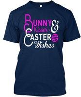 costume de lapin de pâques achat en gros de-Bunny Kisses Pâques Souhaits Standard Unisexe T-Shirt Shirt Hommes De Printemps Été Personnalisé À Manches Courtes Grand Camiseta Camiseta Hommes