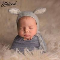 tığ bebeği ayı şapkası toptan satış-Bebek Pointted Kulaklar Ayı Şapka Yenidoğan Tiftik Fotoğraf Kostüm Khawaii Bebek Kapaklar Tığ Beanies Bebek Fotoğraf Aksesuarları