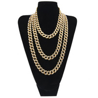Wholesale link chain for sale - Iced Out Chain Mens Hip Hop Necklace Jewelry Full Rhinestone Crystal Gold Miami Cuban Link Chains For Men