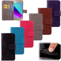 Wholesale casing case samsung galaxy grand prime online – custom For Samsung Galaxy Grand Prime Plus Case Cover Stand PU Leather Lucky Four Leaf with Wallet Card Holder Hand Strap