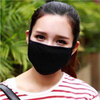 mascarilla para polvo al por mayor-Nueva moda hilado de algodón boca cara máscara ciclismo vistiendo a prueba de viento anti polvo anti-contaminación respirador negro respirador