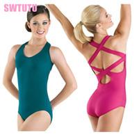 Wholesale women dance leotards - Black dance costume ballet Gymnastics Leotard for girl ballet leotards for women Adult Ballet Bodysuit ClothingCT2018