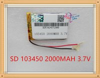Wholesale Gps Parts - 103450 2000mAh 103450 Lithium Polymer Li-Po Rechargeable DIY Battery For Mp3 GPS PSP mobile phone power bank electronic part