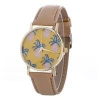 модные часы оптовых-Newest Leather Band Analog Quartz watch Pineapple Pattern women fashion vogue Wrist Watch cute