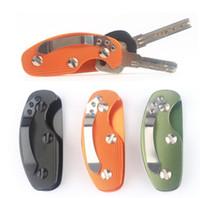estojo porta chaves de bolso venda por atacado-EDC Alumínio Titular da Chave Organizador ClipFolder Chaveiro Chaveiro Ferramenta de Bolso Anel Chave Titular Organizador KKA4277