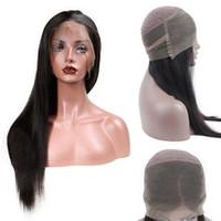 işlenmemiş brezilya insan saç perukları toptan satış-9A Sınıf Vizon Brezilya Virgin İnsan Saç Peruk Siyah Kadınlar için 100% Işlenmemiş 360 dantel ön Peruk Remy Saç 130 yoğunluk Dantel Ön Peruk