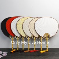 Wholesale Personalized Gift Paper - Blank Personalized Chinese Hand Held Fans Traditional Craft Handle Rice Paper Fan Decoration Adult DIY Fine Art Painting Program