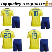 Wholesale cheap soccer uniforms kits - Factory wholesale cheap price 2018 World Cup Sweden Adult Home soccer Kits IBRAHIMOVIC BERG LARSSON SVENSSON TOIVONEN Football Uniforms