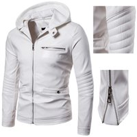 erkeklerin beyaz deri ceket toptan satış-Erkek Deri Ceketler Fermuar Motosiklet Beyaz Renk Ceket PU Deri Ceketler Erkekler için Uzun Kollu Moda Mont erkek Giyim Giyim Adam