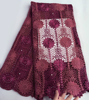Wholesale wine colored lace fabric - wine burgundy African cord lace fabric Swiss guipure lace 5 yards per piece high quality