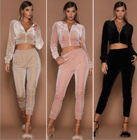 Wholesale women velvet tracksuits - Women Velvet Sets Casual Tracksuit Sporting Suit Velvet Two Pieces Sets Women Sportswear Outfits Velvet Tracksuit 2pcs set KKA3820